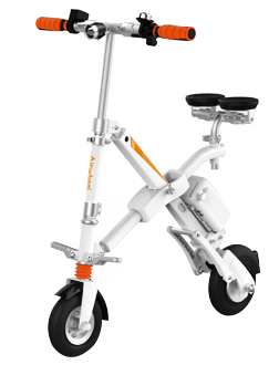 E6 folding e bike features patented X frame design, ergonomic saddle design, double damping system, 8 inch small tires and collapsible frame.